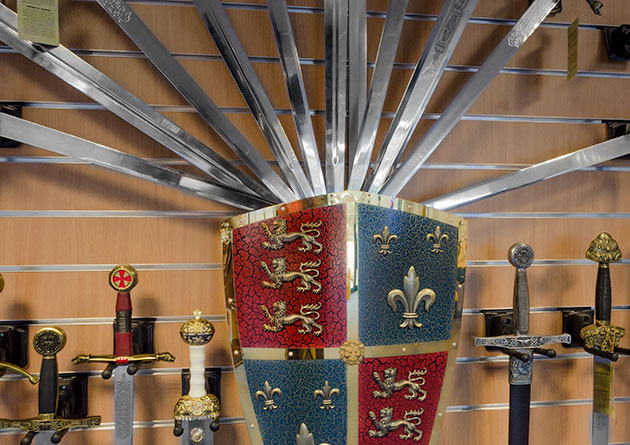 The Knight Shop showroom - medieval swords and shield display
